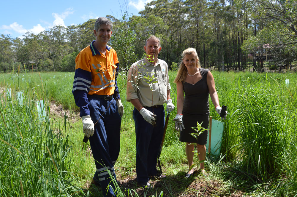 From left to right: Mark Paton – Group Environment Manager, Energex; Simon Warner – CEO, SEQ Catchments and Redland City Mayor Karen Williams.