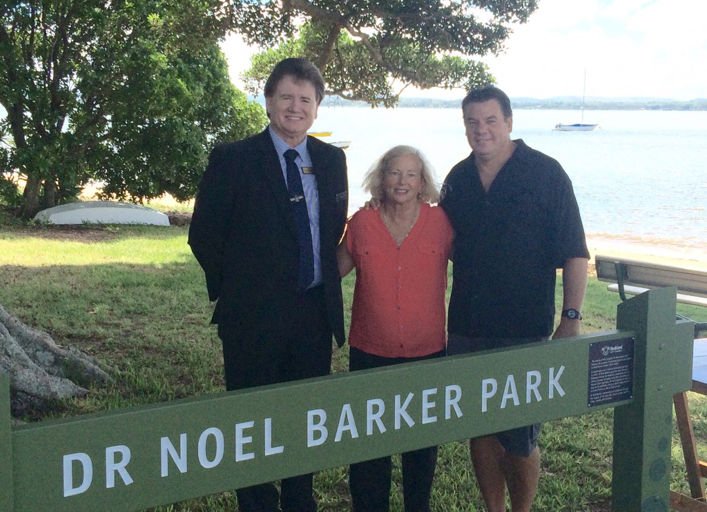 Redland City Division 4 Councillor Lance Hewlett with Lyndal Barker and William Lowe who led the push for the Victoria Point Park to be named in honour of Dr Barker and