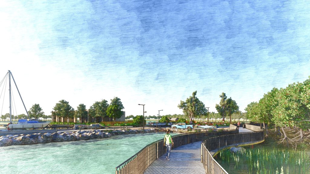 Artists' impression of the Weinam Creek footbridge